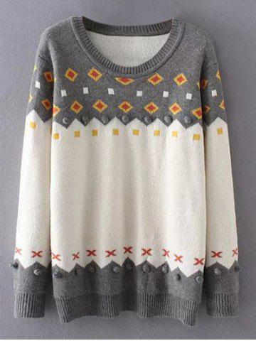 Fancy Crew Neck Color Block Plus Size Sweater - 3XL GREY AND WHITE Mobile