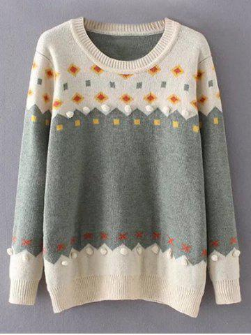 Crew Neck Color Block Plus Size Sweater - White And Green - Xl