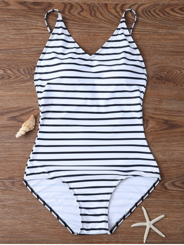 Fashion Backless Striped V Neck One Piece Swimsuit - L WHITE Mobile