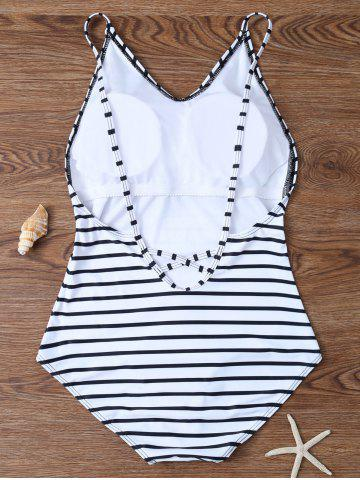 Shops Backless Striped V Neck One Piece Swimsuit - L WHITE Mobile