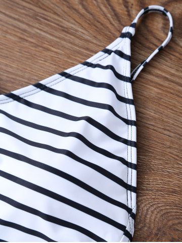 Sale Backless Striped V Neck One Piece Swimsuit - L WHITE Mobile