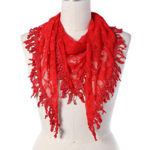 Store Travel Leaf Tassel Lace Triangle Scarf - RED  Mobile