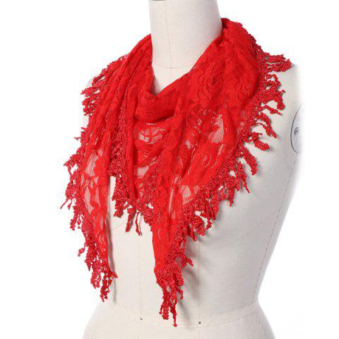 Cheap Travel Leaf Tassel Lace Triangle Scarf - RED  Mobile