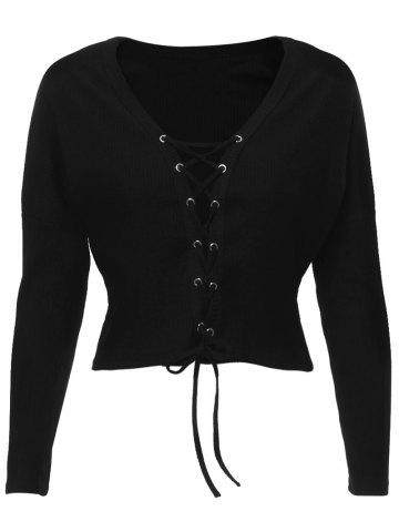 Online V Neck Lace Up Ribbed Cropped Cardigan