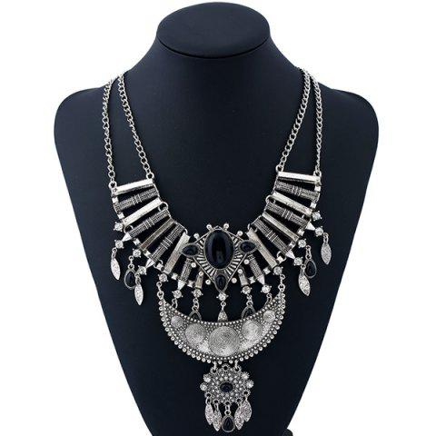 Outfit Artificial Gemstone Rhinestone Teardrop Necklace SILVER AND BLACK
