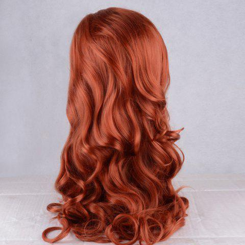 Sale Long Fluffy Wavy Lace Front Synthetic Wig - DARK AUBURN  Mobile