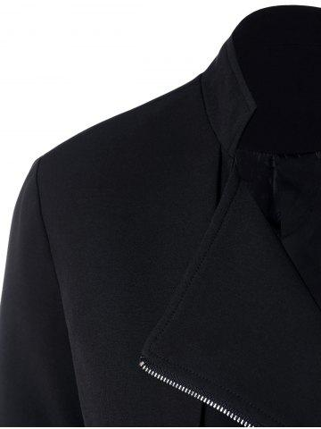 Best Lapel Collar Asymmetrical Zipper Coat - XL BLACK Mobile