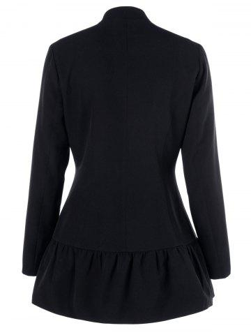 Unique Lapel Collar Asymmetrical Zipper Coat - XL BLACK Mobile