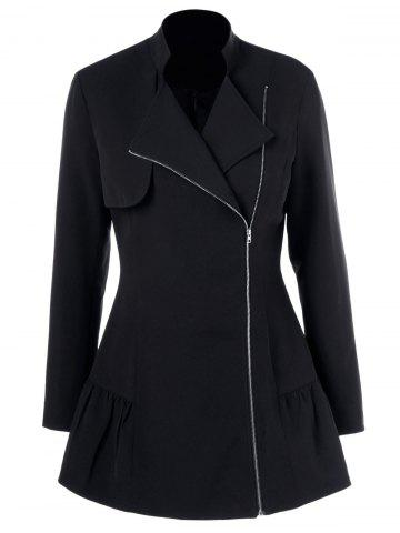 Buy Lapel Collar Asymmetrical Zipper Coat - XL BLACK Mobile