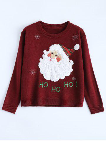 Hot Crew Neck Santa Clause Christmas Sweater WINE RED ONE SIZE