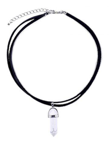 Best Faux Leather Rope Gem Pendant Necklace WHITE/BLACK