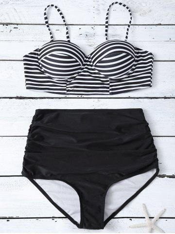 Fashion Cami Striped High Waist Bikini Set BLACK XL
