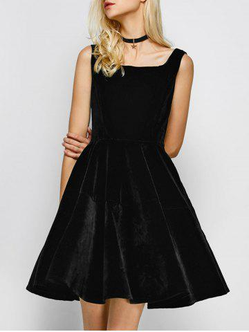 Trendy Vintage Square Neck Velvet Formal Short Dress