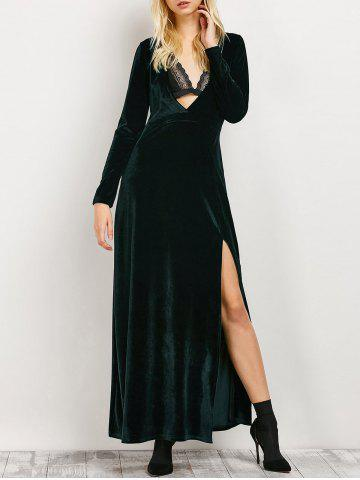 Store Long Sleeve Low Cut Slit Maxi Evening Dress BLACKISH GREEN L