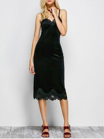Outfit Lace Panel Midi Cami Club Dress BLACK L