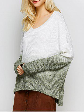 Online V Neck High-Low Ombre Knitwear WHITE L