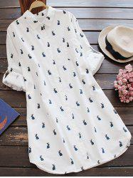 Casual Long Sleeve Rabbit Print Tunic Shirt - WHITE