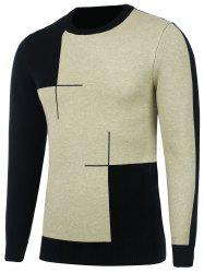 Crew Neck Two Tone Knitted Sweater
