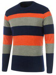 Striped Rhombus Pattern Crew Neck Sweater