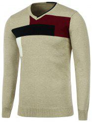 Color Matching Knitted V Neck Sweater -