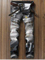 Paint Splatter Zippered Rib Panel Straight Jeans - GRAY