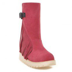 Buckle Strap Fringe Suede Snow Boots -