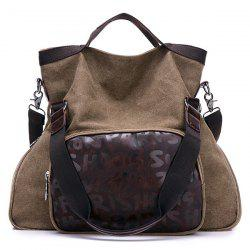 PU Leather Insert Letter Print Canvas Shoulder Bag -