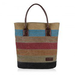 Colour Block Striped Canvas Tote Bag -