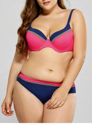 Plus Size Striped Trim Bikini - PAPAYA 2XL