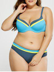 Plus Size Striped Trim Bikini - BLUE 4XL