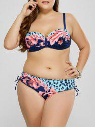 Plus Size Leopard Plant Push Up Bikini - CLOUDY 3XL