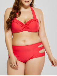 Plus Size Cutout Ruffle Underwire Halter Bikini Set - RED 3XL