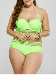 Plus Size Cut Out Halter Bikini