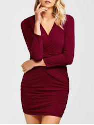 Ruched Surplice Long Sleeve V Neck Mini Party Bodycon Dress - WINE RED XL