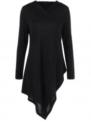 Hooded Asymmetrical Long Sleeve Tee -
