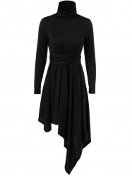 Asymmetrical High Neck Long Sleeve Dress