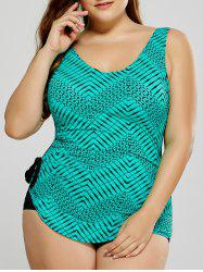Plus Size Zigzag Backless One-Piece Swimwear