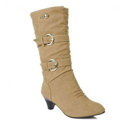 Metallic Slip On Buckle Suede Mid Calf Boots -