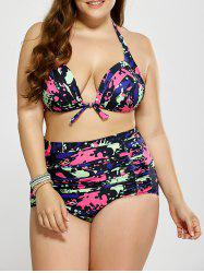 Plus Size Shirred High Waist Halter Neck Bikini