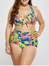Plus Size Floral Shirred High Waist Bikini