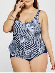 Plus Size Floral and Striped Swimwear