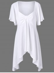 Butterfly Sleeve Asymmetrical Plus Size Tee - WHITE