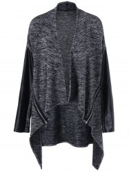 Asymmetrical Open Front Plus Size Knit Cardigan - GRAY