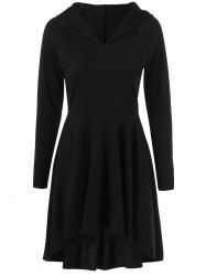 High Low Hooded Fit and Flare Dress