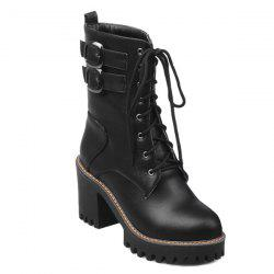 Block Heel Buckles Lace Up Ankle Boots - BLACK