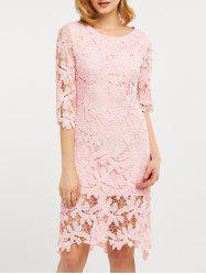 Hollow Out Lace Knee Length Dress