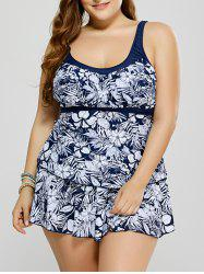 Plus Size Floral Swimsuit with Skirt - BLUE AND WHITE 3XL
