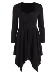 Long Sleeves Ruched Asymmetric Swing Dress - BLACK 2XL