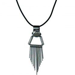 Hollow Out Metallic Fringed Pendant Necklace