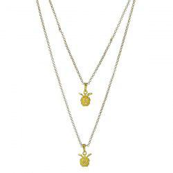 Double Layered Pendant Metallic Necklace